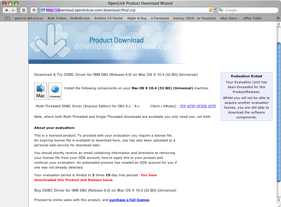 3 1  OpenLink ODBC Driver for DB2 (Express Edition) for Mac OS X
