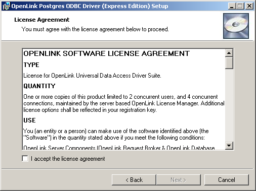 9 2  OpenLink ODBC Driver for PostgreSQL (Express Edition
