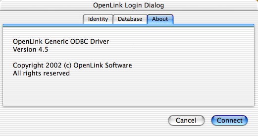 OpenLink Login Dialog, About tab