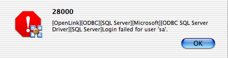 OpenLink ODBC Administrator, DSN Test, Initial Error Message