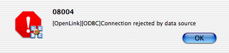 OpenLink ODBC Administrator, DSN Test, Secondary Error Message