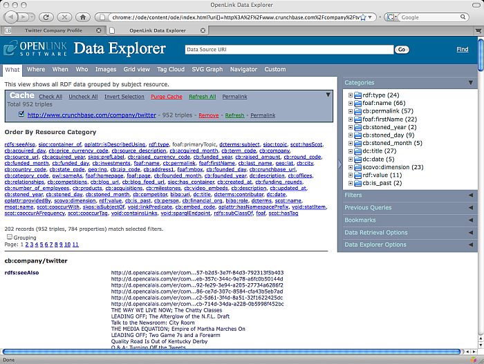 ODE RDF browser displaying Crunchbase network resource fetched data