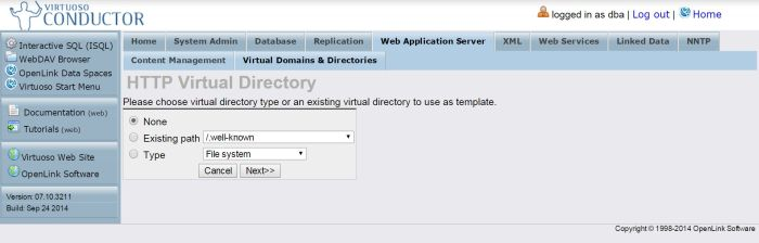 Configure SPARQL Endpoint: new directory