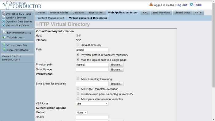 Configure SPARQL Endpoint: set /sparql virtual directory