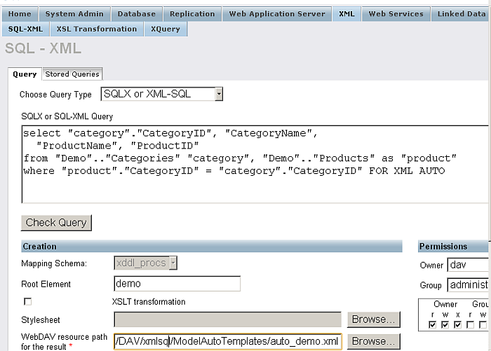 SQL to XML using FOR XML AUTO mode