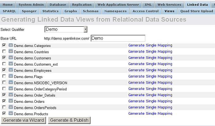 Generating Transient and/or Persistent Linked Data Views