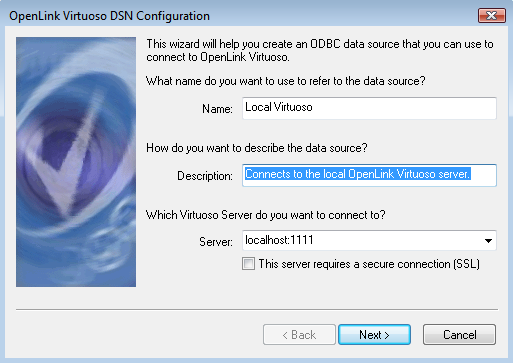 Virtuoso ODBC Driver Setup Dialogue for Windows