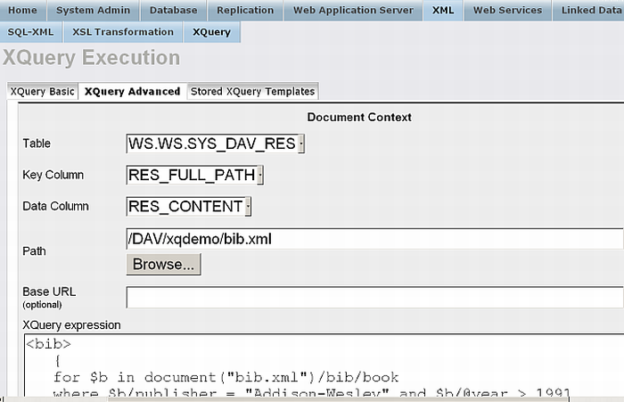 XQUERY query against the Demo database