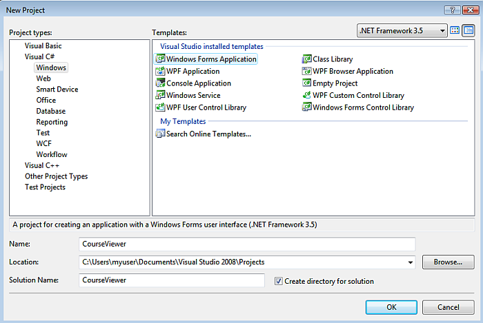 windows form application in vb with database projects